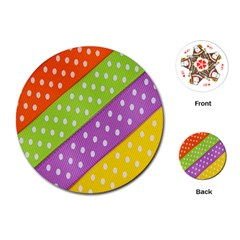 Colorful Easter Ribbon Background Playing Cards (Round)