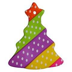Colorful Easter Ribbon Background Christmas Tree Ornament (two Sides)