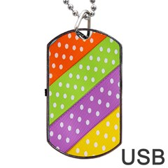 Colorful Easter Ribbon Background Dog Tag Usb Flash (one Side)