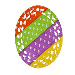 Colorful Easter Ribbon Background Oval Filigree Ornament (Two Sides)