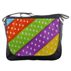 Colorful Easter Ribbon Background Messenger Bags