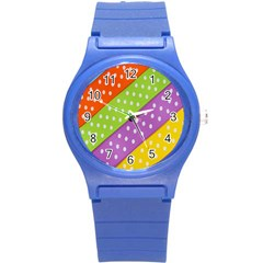 Colorful Easter Ribbon Background Round Plastic Sport Watch (S)