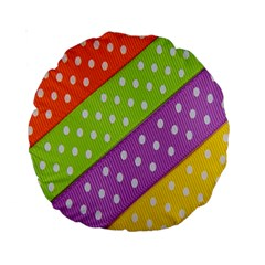 Colorful Easter Ribbon Background Standard 15  Premium Round Cushions