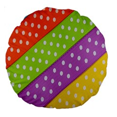 Colorful Easter Ribbon Background Large 18  Premium Round Cushions