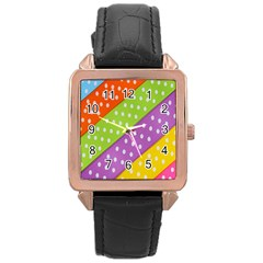 Colorful Easter Ribbon Background Rose Gold Leather Watch