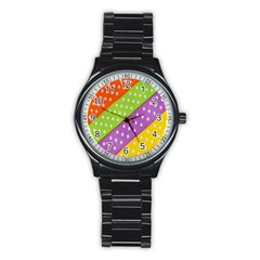 Colorful Easter Ribbon Background Stainless Steel Round Watch