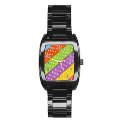 Colorful Easter Ribbon Background Stainless Steel Barrel Watch