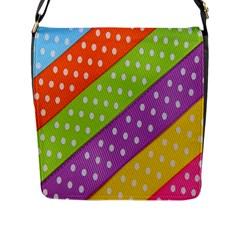 Colorful Easter Ribbon Background Flap Messenger Bag (L)