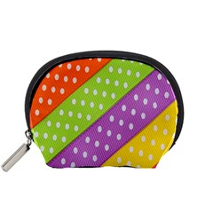 Colorful Easter Ribbon Background Accessory Pouches (Small)