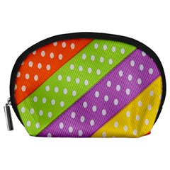 Colorful Easter Ribbon Background Accessory Pouches (Large)