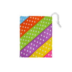 Colorful Easter Ribbon Background Drawstring Pouches (Small)