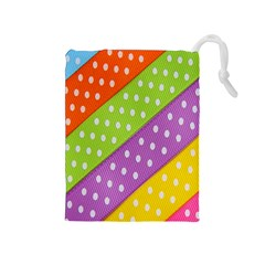 Colorful Easter Ribbon Background Drawstring Pouches (Medium)