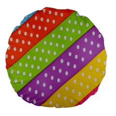 Colorful Easter Ribbon Background Large 18  Premium Flano Round Cushions