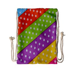 Colorful Easter Ribbon Background Drawstring Bag (Small)