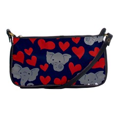 Elephant Lover Hearts Elephants Shoulder Clutch Bag