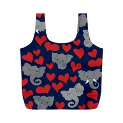 Elephants Love Full Print Recycle Bags (M)