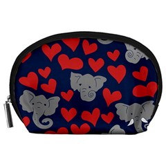 Elephant Lover Hearts Elephants Accessory Pouch (large)