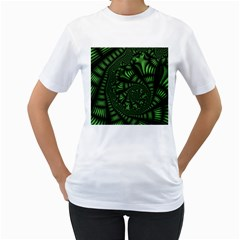 Fractal Drawing Green Spirals Women s T Shirt (white) (two Sided)