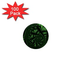 Fractal Drawing Green Spirals 1  Mini Magnets (100 Pack)