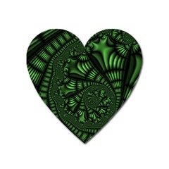 Fractal Drawing Green Spirals Heart Magnet