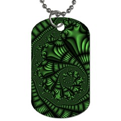 Fractal Drawing Green Spirals Dog Tag (Two Sides)