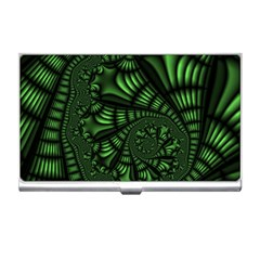 Fractal Drawing Green Spirals Business Card Holders