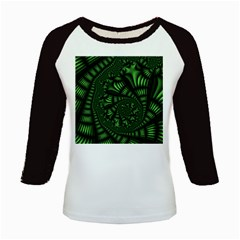 Fractal Drawing Green Spirals Kids Baseball Jerseys