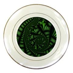 Fractal Drawing Green Spirals Porcelain Plates