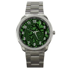 Fractal Drawing Green Spirals Sport Metal Watch