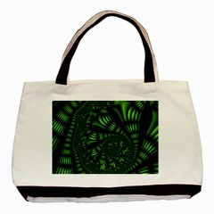 Fractal Drawing Green Spirals Basic Tote Bag (two Sides)
