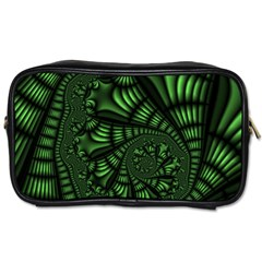 Fractal Drawing Green Spirals Toiletries Bags