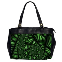 Fractal Drawing Green Spirals Office Handbags (2 Sides)