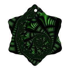 Fractal Drawing Green Spirals Snowflake Ornament (two Sides)