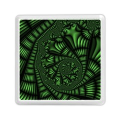 Fractal Drawing Green Spirals Memory Card Reader (square)