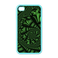 Fractal Drawing Green Spirals Apple iPhone 4 Case (Color)