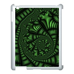 Fractal Drawing Green Spirals Apple iPad 3/4 Case (White)