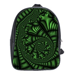 Fractal Drawing Green Spirals School Bags (xl)