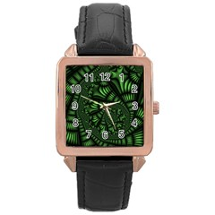 Fractal Drawing Green Spirals Rose Gold Leather Watch