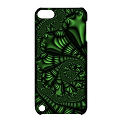 Fractal Drawing Green Spirals Apple Ipod Touch 5 Hardshell Case With Stand
