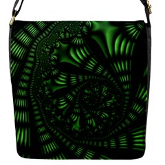 Fractal Drawing Green Spirals Flap Messenger Bag (S)