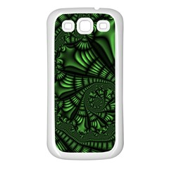 Fractal Drawing Green Spirals Samsung Galaxy S3 Back Case (White)