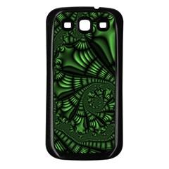 Fractal Drawing Green Spirals Samsung Galaxy S3 Back Case (black)
