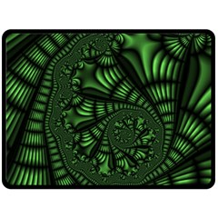 Fractal Drawing Green Spirals Double Sided Fleece Blanket (Large)