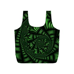 Fractal Drawing Green Spirals Full Print Recycle Bags (s)