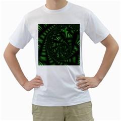 Fractal Drawing Green Spirals Men s T-Shirt (White)