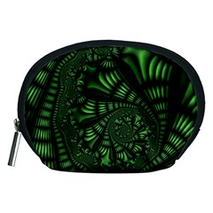Fractal Drawing Green Spirals Accessory Pouches (Medium)