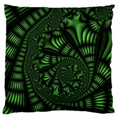 Fractal Drawing Green Spirals Large Flano Cushion Case (One Side)