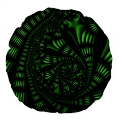 Fractal Drawing Green Spirals Large 18  Premium Flano Round Cushions