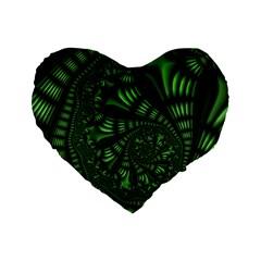Fractal Drawing Green Spirals Standard 16  Premium Flano Heart Shape Cushions