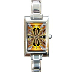 Fractal Yellow Butterfly In 3d Glass Frame Rectangle Italian Charm Watch